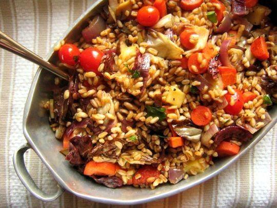 Warm farro salad with roasted veggies