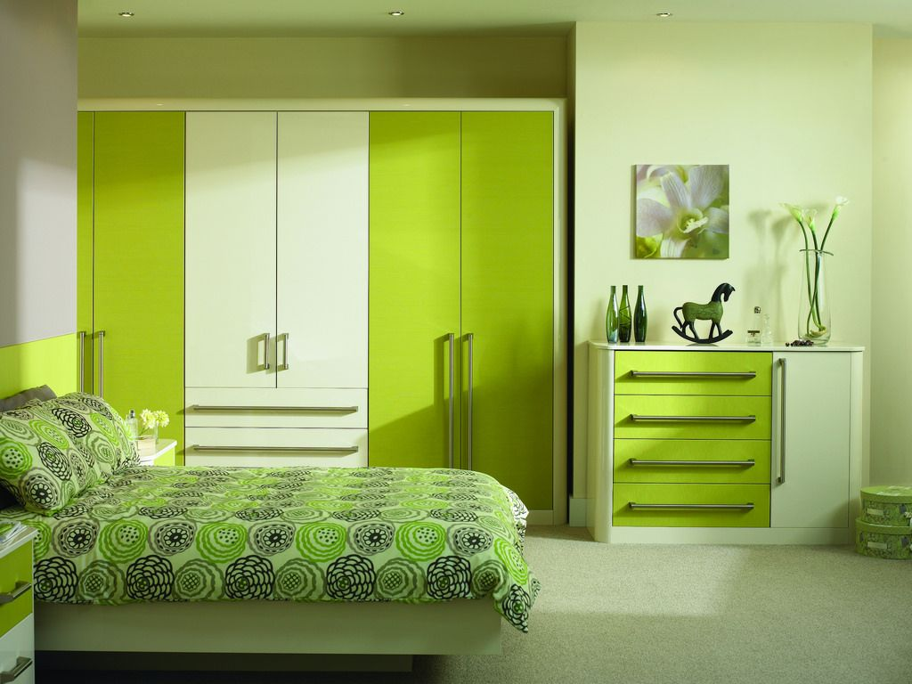 Lime green paint in teen bedroom