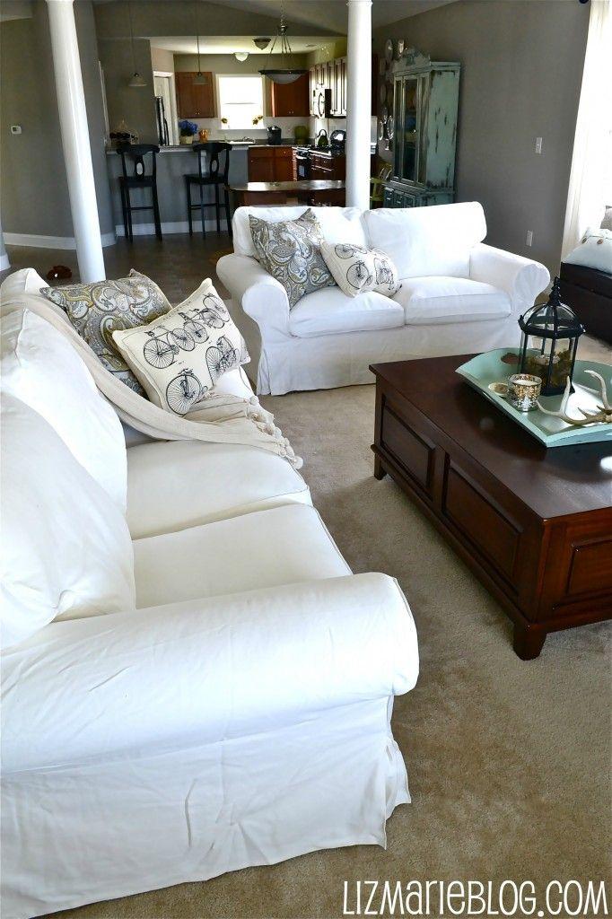 Living room, dining room, home. White Slipcovered Sofa Ikea Ikea Farlov Slipcovered Sofa ...