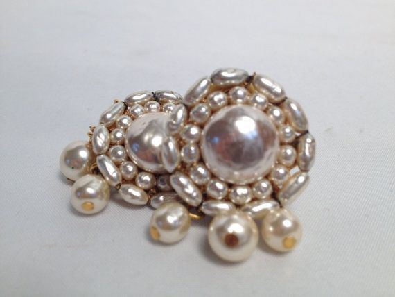 Vintage 1950's Miriam Haskell Baroque Pearl Clip-on Earrings