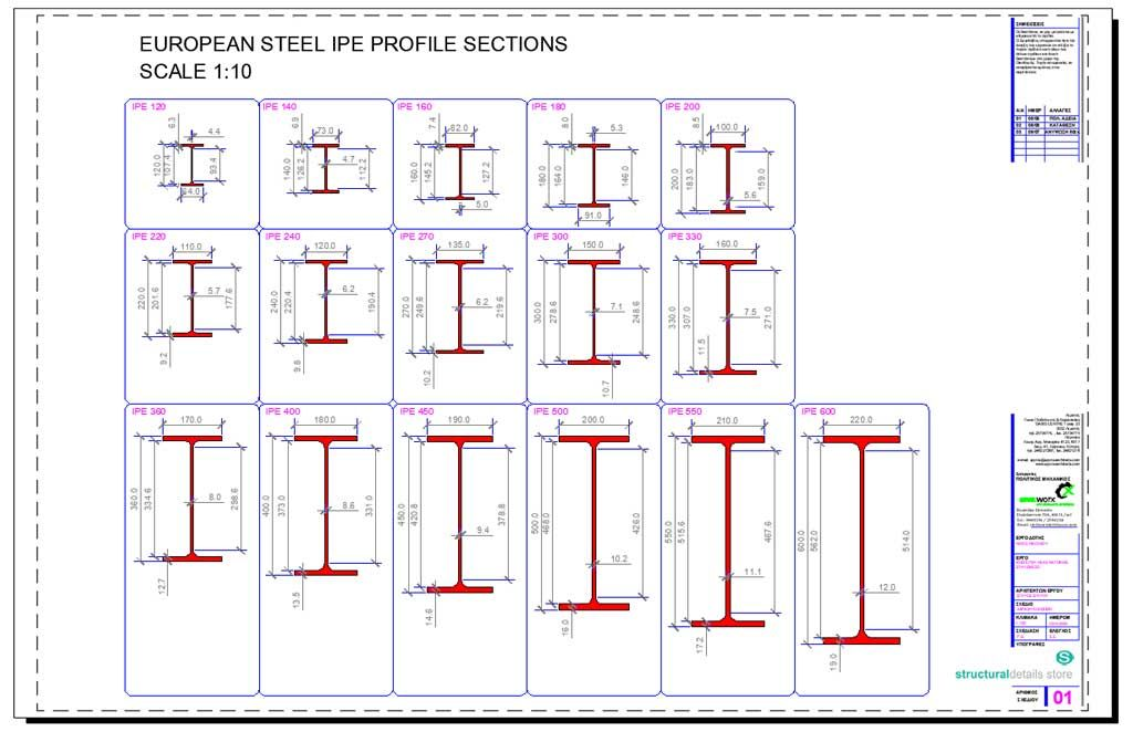 European Ipe Profile Steel Sections Dwg Cad Drawings