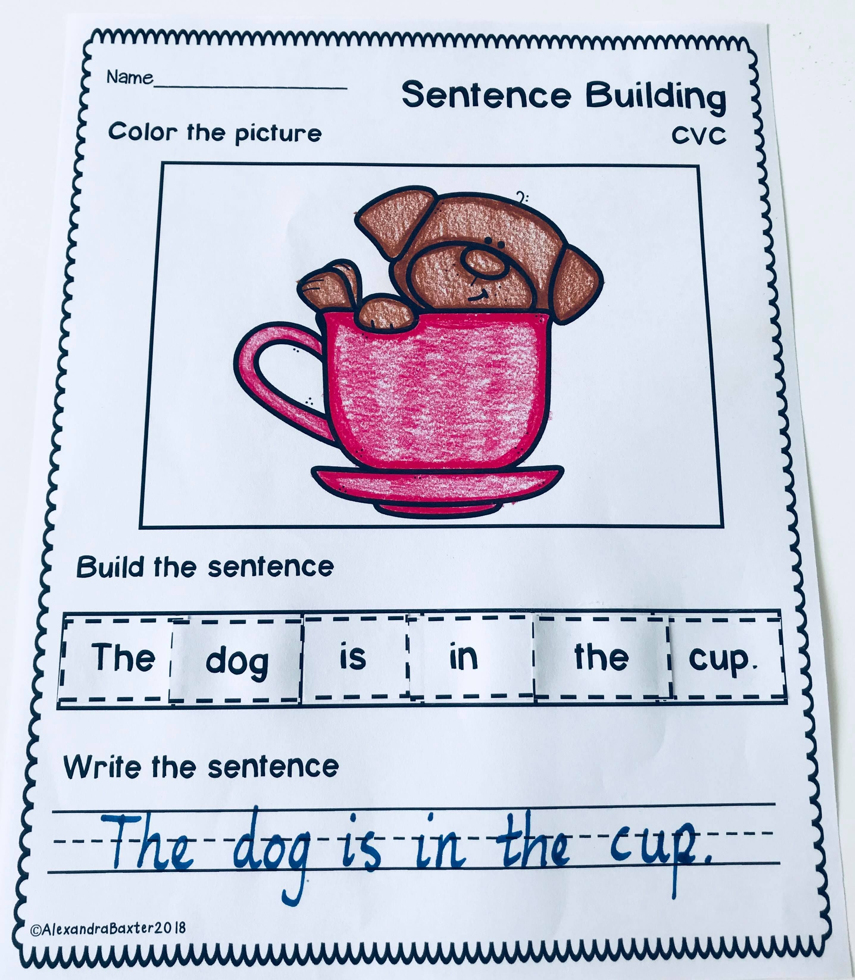Sentence Building Worksheets Set 2