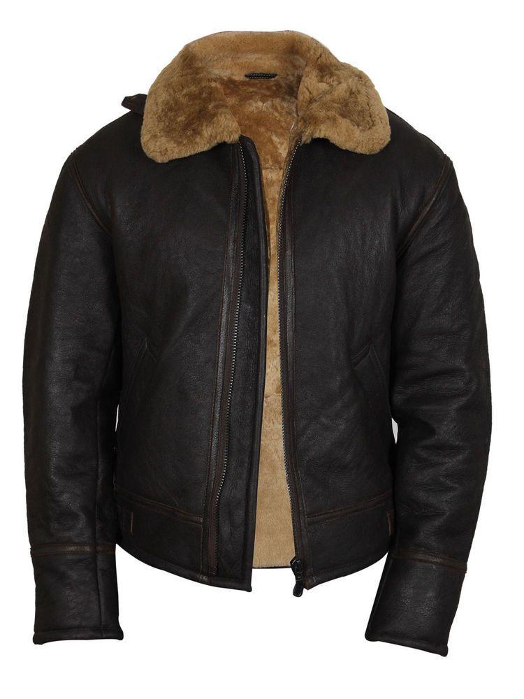 5dc18399b Men's B3 Bomber Aviator Ginger Brown Original Sheepskin Leather ...
