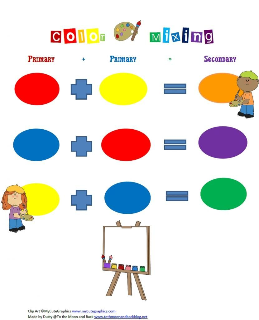 Unit study colors preschool - Activities Free Color Mixing Printable For Primary And Secondary Colors