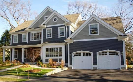Two Tone Exterior House Paint Color Ideas At Certapro Painters Of Westchester And South Conne House Exterior Blue Gray House Exterior Beautiful Houses Exterior