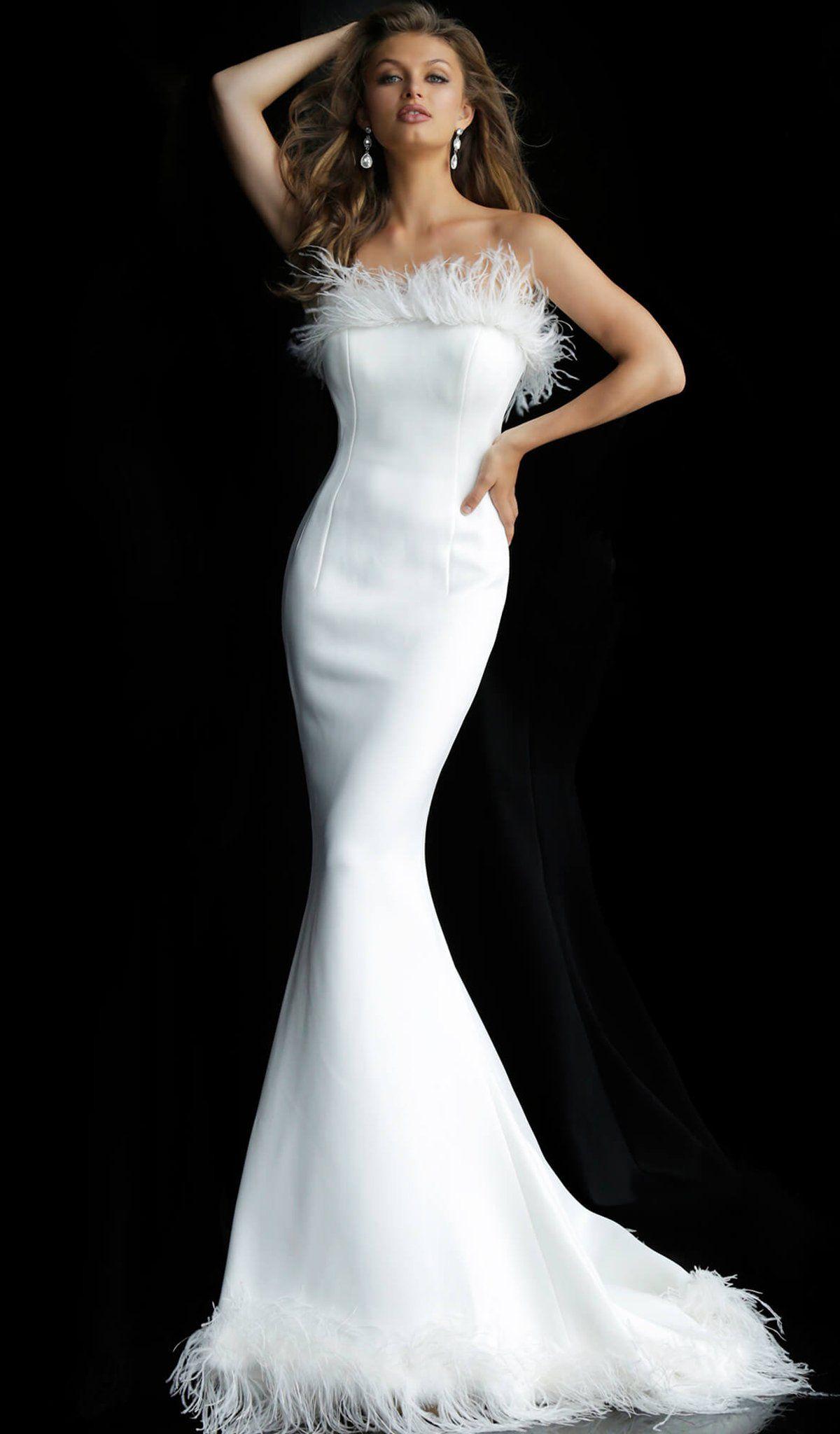 Jovani 63891 Strapless Feather Fringed Mermaid Gown In 2021 Strapless Wedding Dress Mermaid Informal Wedding Dresses Wedding Dress With Feathers [ 2048 x 1200 Pixel ]