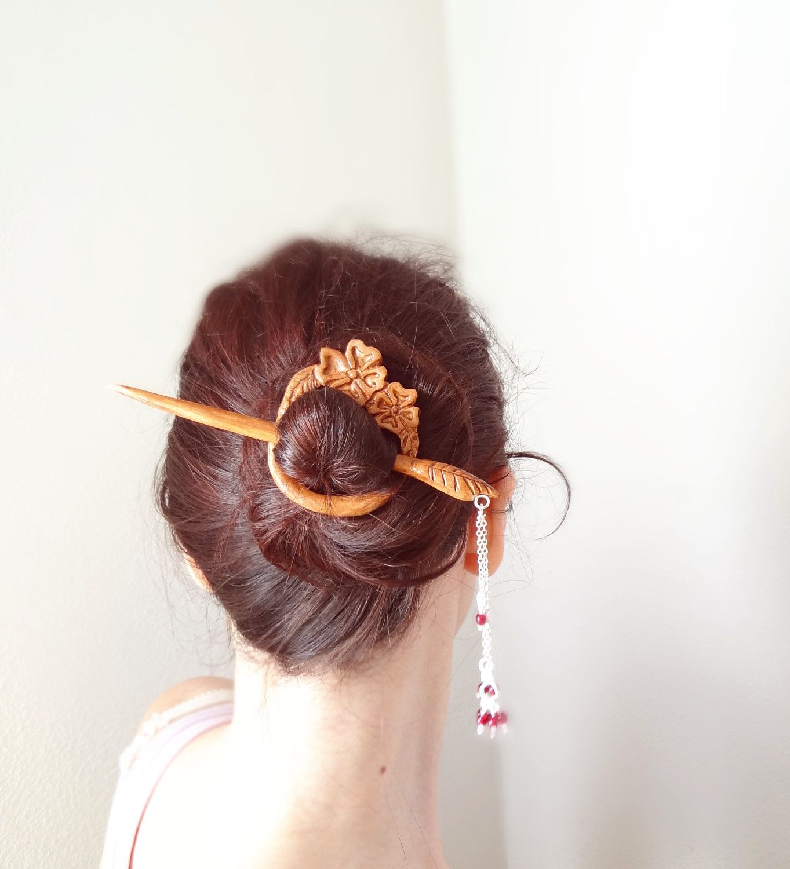 Japanese hair ornaments - Ready To Ship Japanese Cherry Blossom Geisha Hair Pin Shawl Pin 42 00 Via Etsy