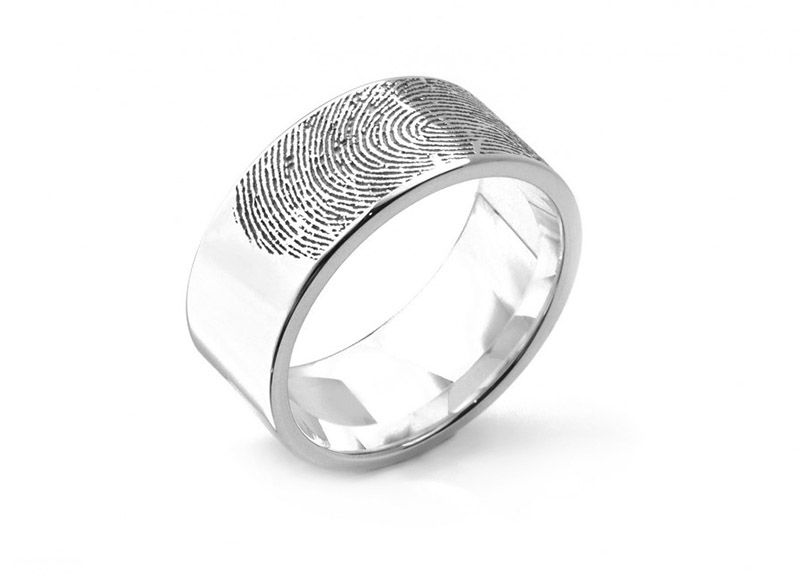 Ring · Extra Wide Fingerprint Engraved Wedding Ring