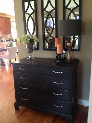 The Burlap Hill: Great Minds Think Alike. Painted Dresser For The Living  Room. LOVE The Three Mirrors