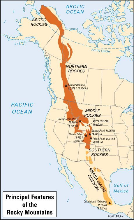 Canada And Us Map With Rocky Mountain - Rocky mountains on us map