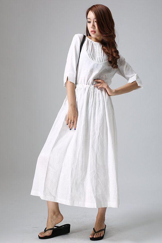 7572ef29e8 White linen dress