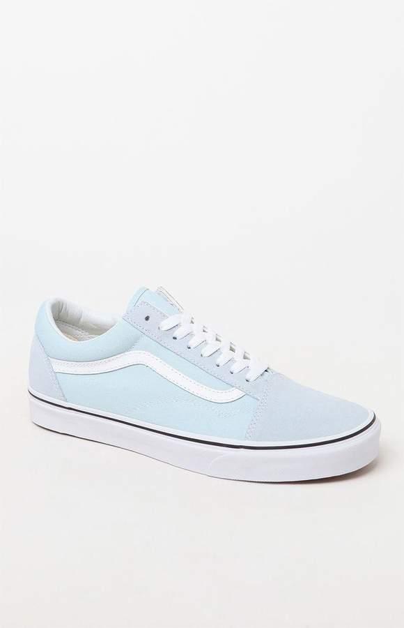 Vans Old Skool Light Blue \u0026 White Shoes