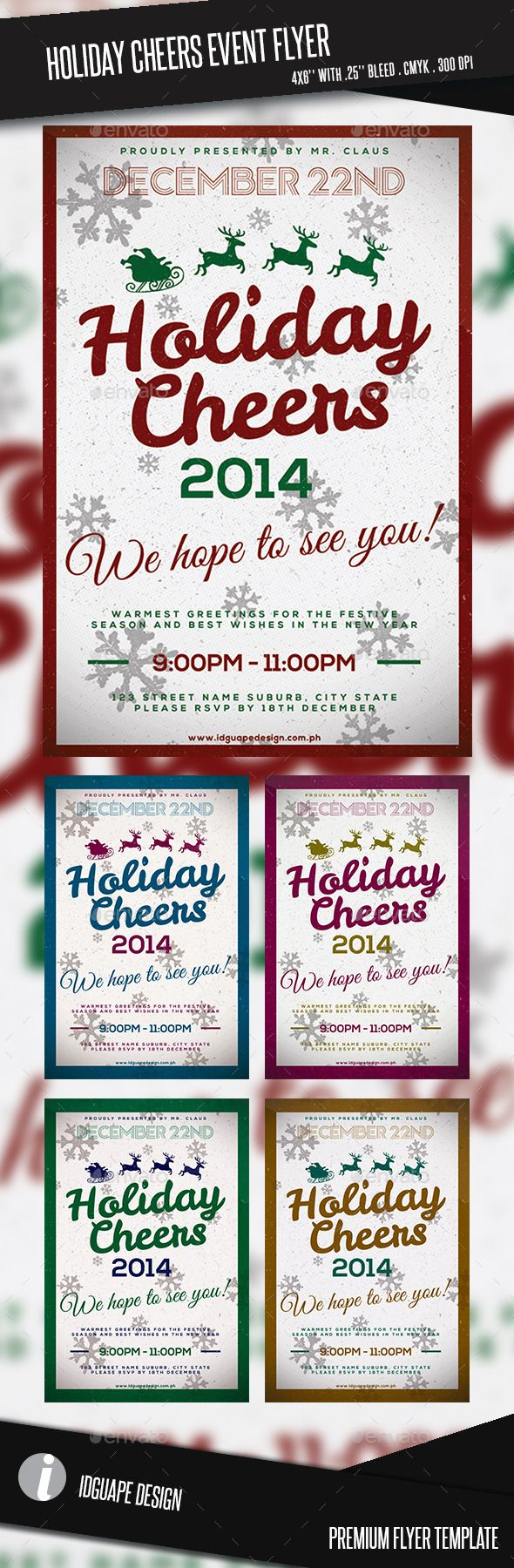 holiday cheers event flyer event flyers cheer and flyer template