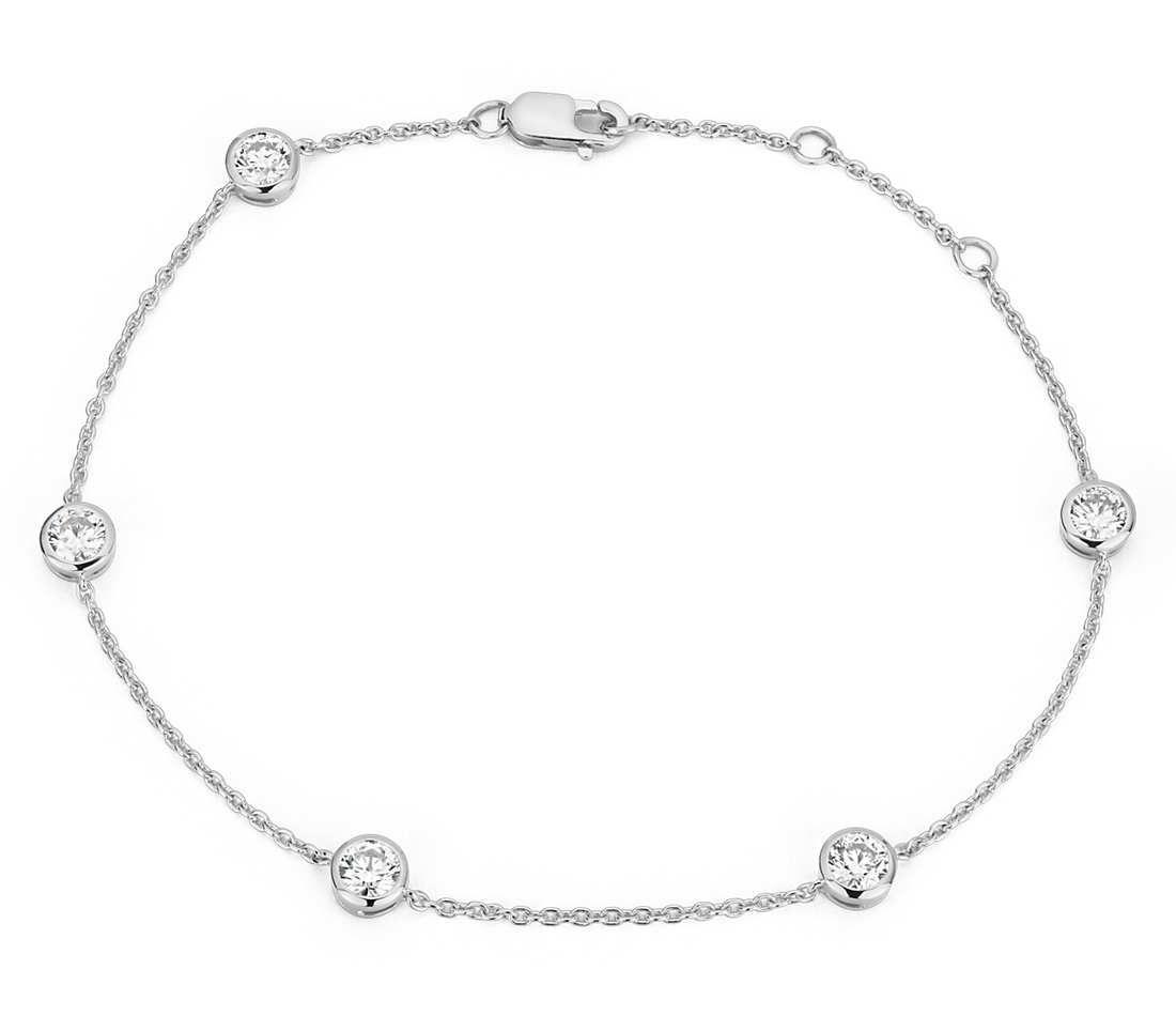 Canadian diamond bezel bracelet in 18k white gold 1 ct