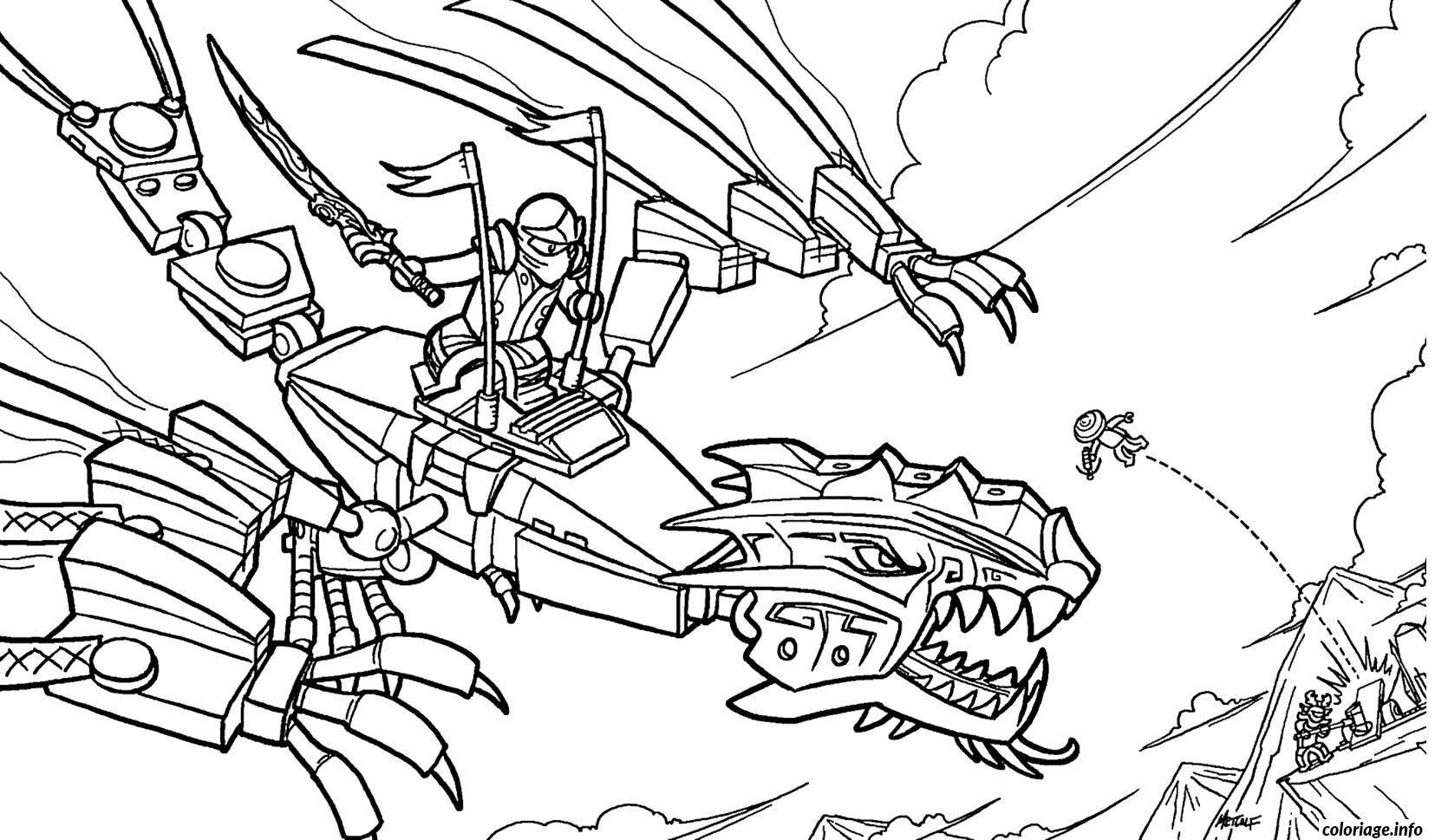 Coloriage Ninjago Sur Un Dragon Ninja Dessin A Imprimer