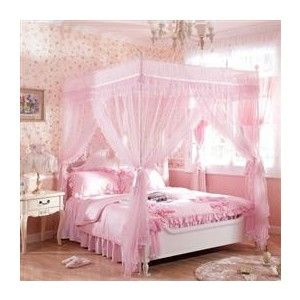 Household Double Ruffle 4 Poster Bed Canopy Bed Poster One Set