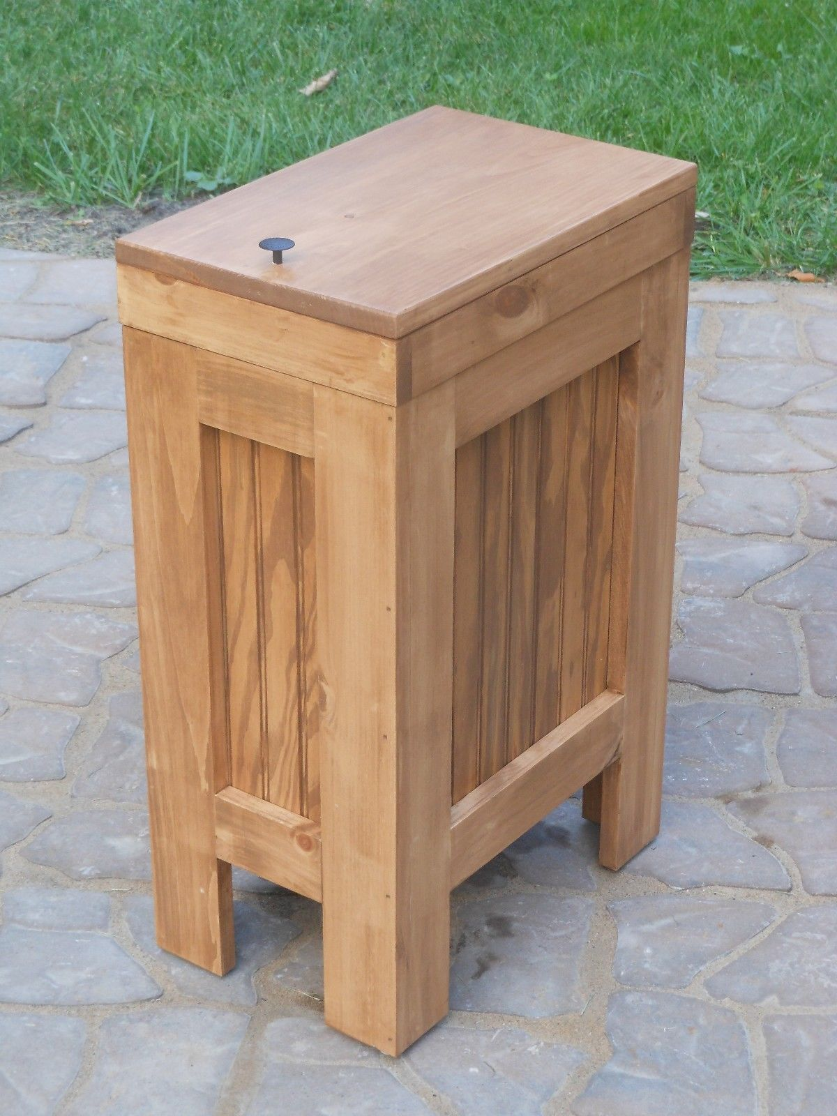 WOOD WOODEN KITCHEN TRASH CAN Wastebasket RECYCLING BIN HANDCRAFTED IN USA  ! NEW