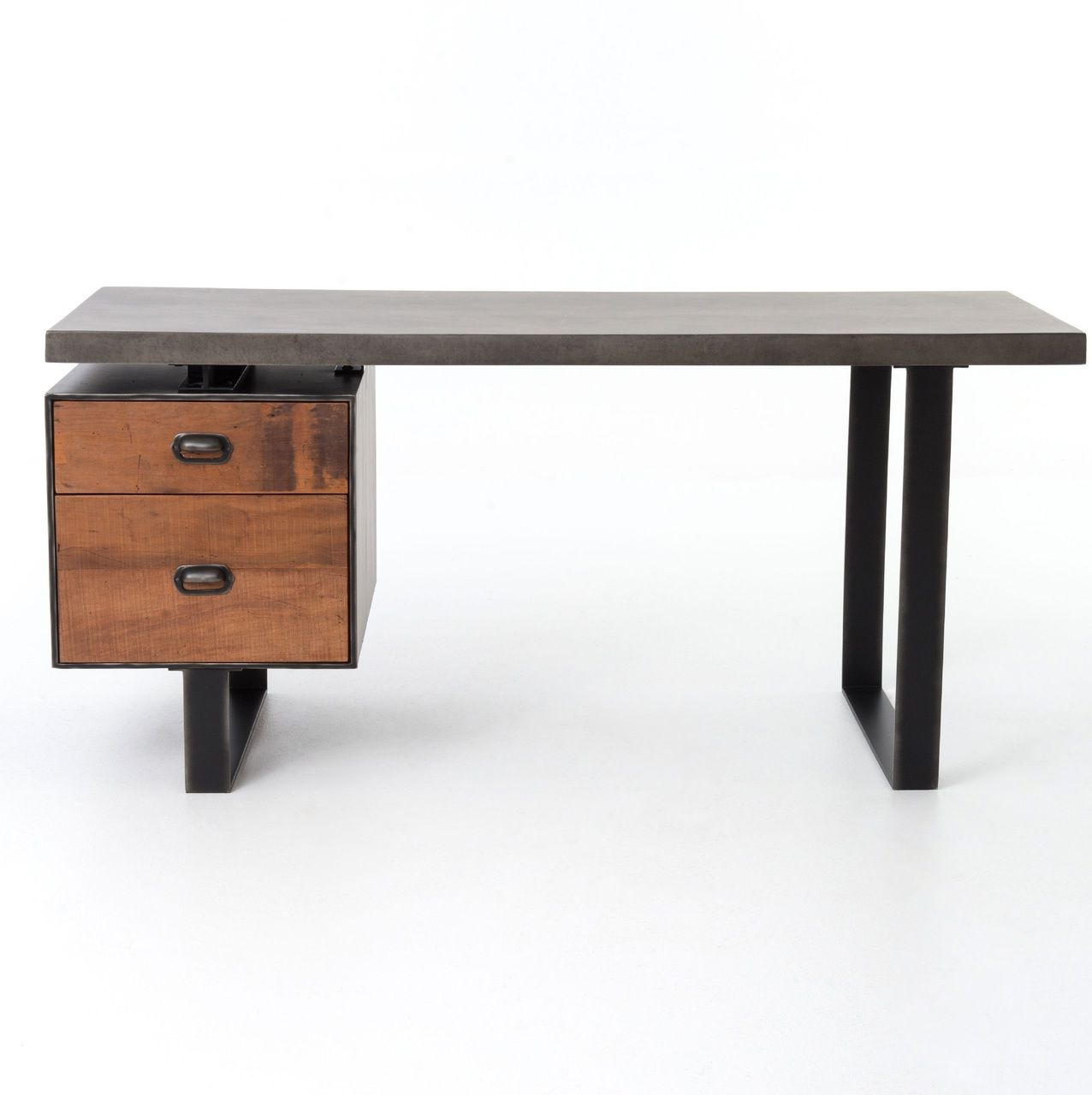 Clapton Concrete Wood Desk With File Drawer