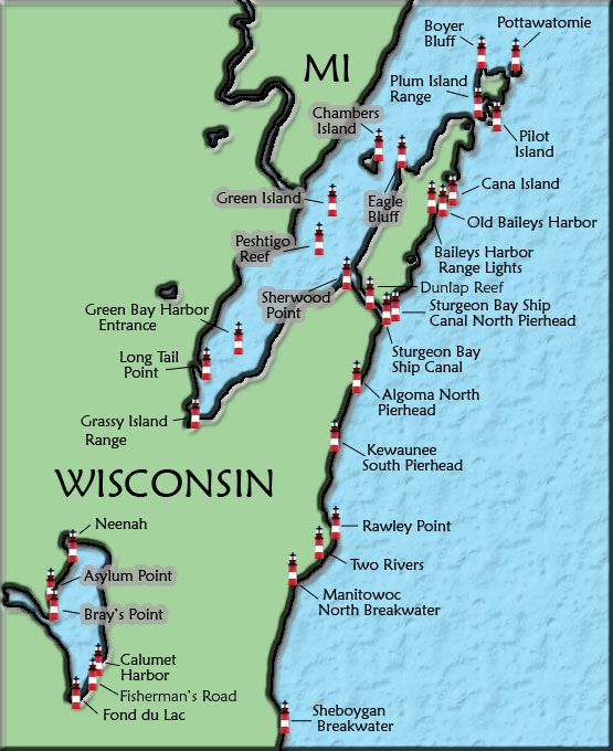 Door County Wisconsin Map Door County, WI lighthouses We tend to think of lighthouses as a