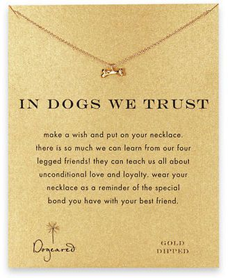 In Dogs We Trust Dog Bone Pendant Necklace