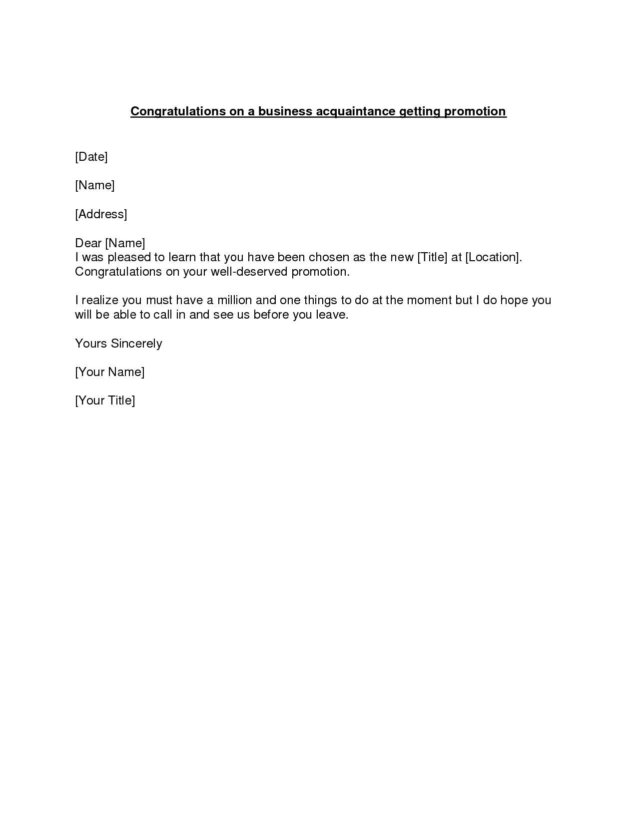 Promotion Congratulations Letter