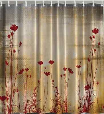 Fabric Shower Curtain Flower Floral Digital Bathroom Decor Bath