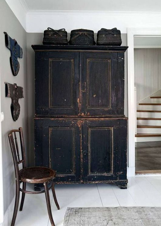 Out Of Sight, Out Of Mind.excellent Foyer With Antique Distressed Black  Cupboard