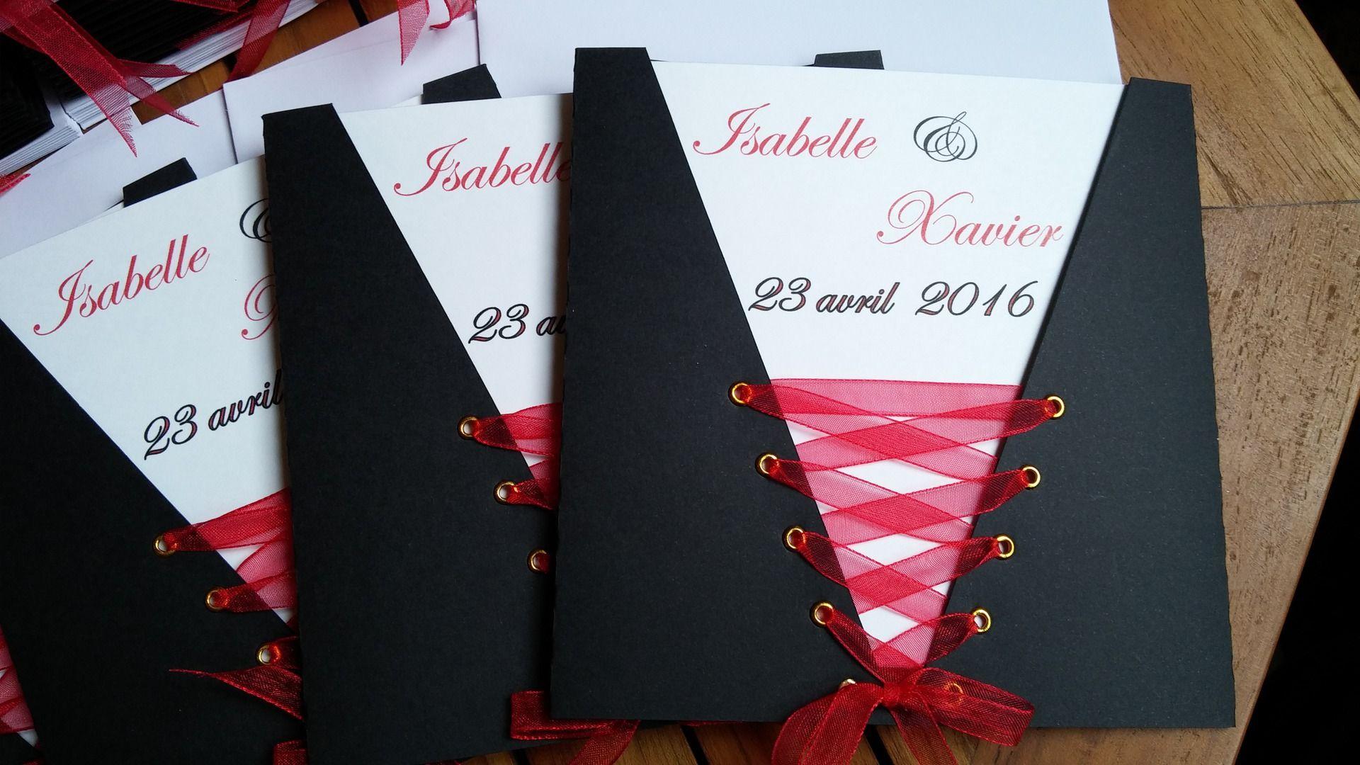 Faire-Part Mariage Pochette Corset Noir Rouge