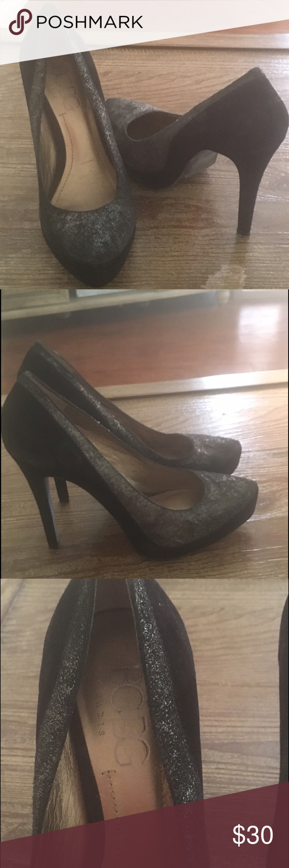 Black BCBG Heels Black BCBG Heels in good shape and super comfortable. Very shuttle light specs of gold. One of my favorite pairs of heels when I was able to wear them because they match with so much and are so comfortable! BCBG Shoes Heels