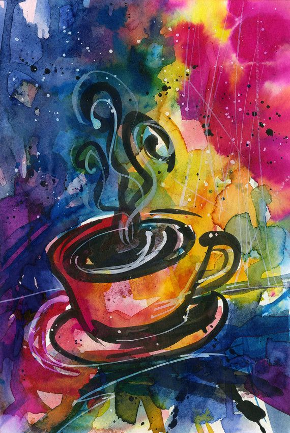 ORIGINAL HANDMADE THE GREEN COFFEE CUP PAINTING