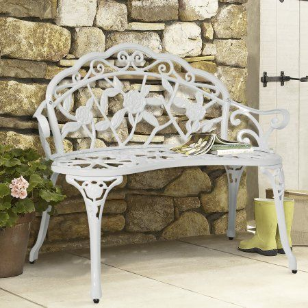 BCP Outdoor Patio Garden Bench Park Yard Furniture Cast Iron Antique Rose  White