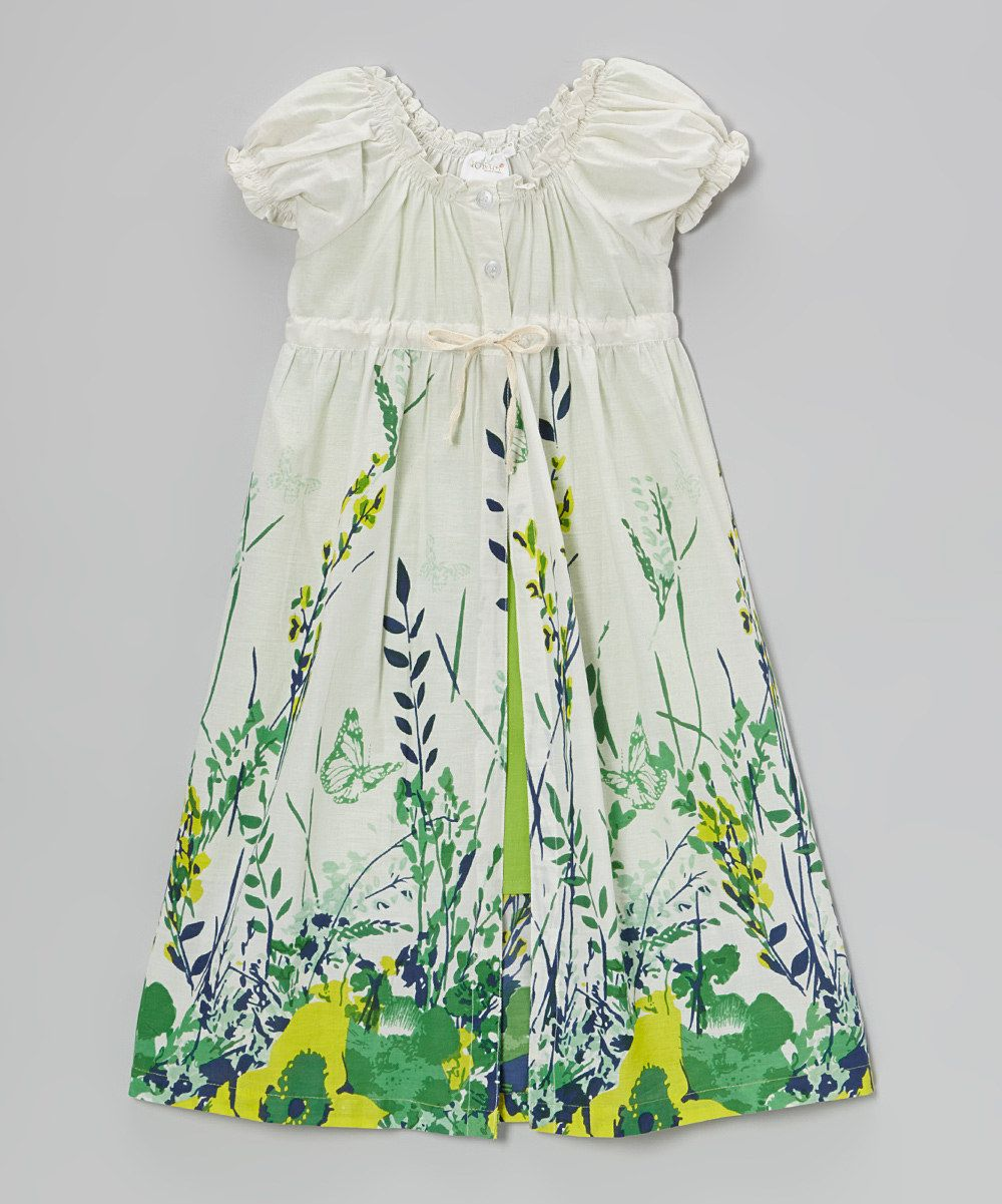 Green dress baby images  This Green u White Floral ALine Dress  Toddler u Girls by Yo Baby