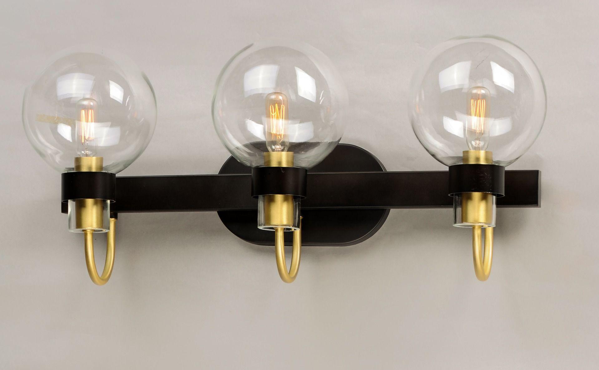 Photo of Maxim Bauhaus 3-Licht Badezimmer Waschtischleuchte in Bronze und Satin Messing