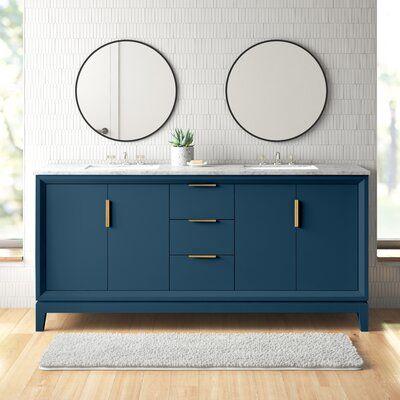 Photo of Evita 72″ Double Bathroom Vanity Set Base Finish: Monarch Blue