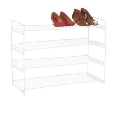 Howards Storage World   White 4 Tier Shoe Rack