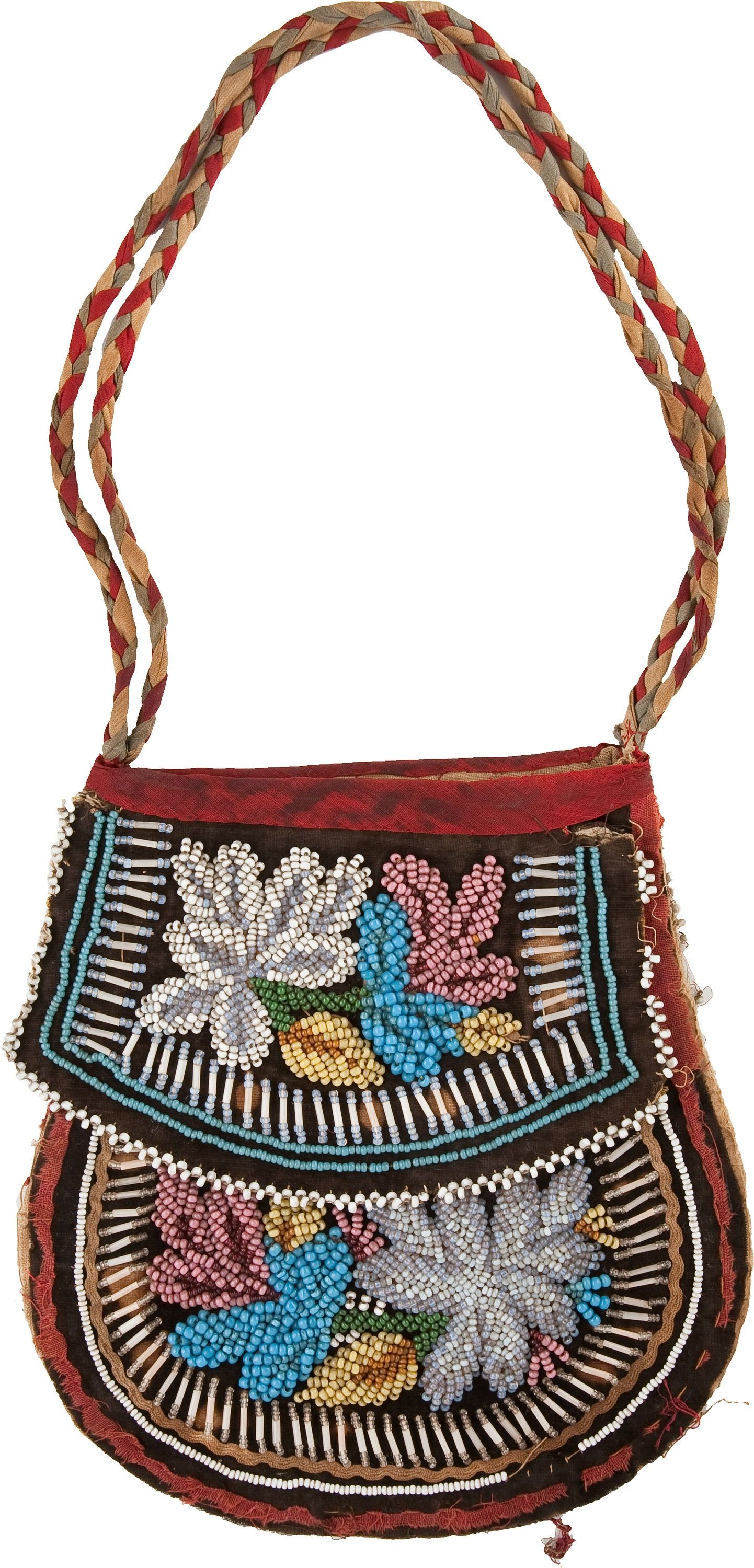 An Iroquois Beaded Cloth Pouch C American Indian