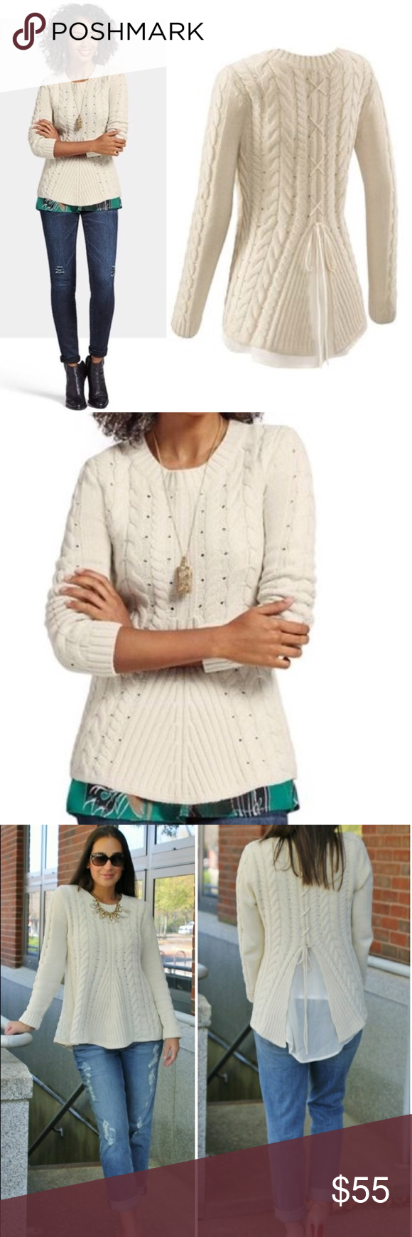 fefa111d91 Cabi style 3157 lace up fly away sweater Excellent condition CAbi Sweaters  Crew   Scoop Necks