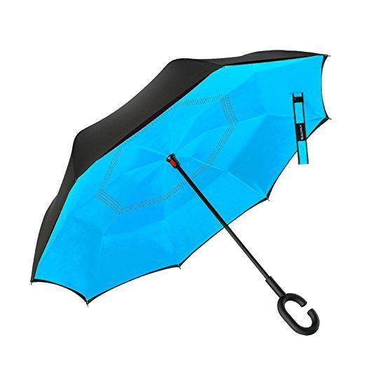 Amazon.com: Doble Capa invertido Paraguas Paraguas Coches inversa, a prueba de viento UV protección paraguas grande para el coche recto lluvia al aire libre con la manija en forma de C y bolsa de transporte (sandía): Deportes y tiempo libre