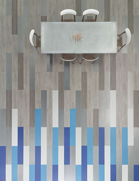Space defining floors with gradating super pigment.