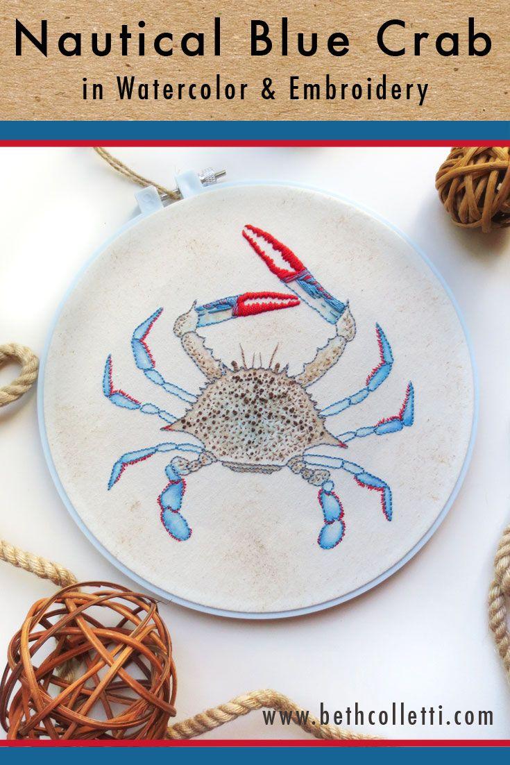 Nautical Blue Crab Embroidery Art Coastal Cottage Decor