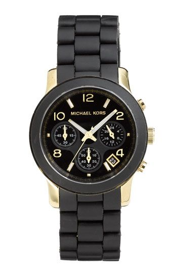 ace606aced7c My Favorite New Watches  BLACK AND GOLD! Read more at  www.HowToWearEverything.com. Michael Kors  Black Catwalk  Chronograph ...