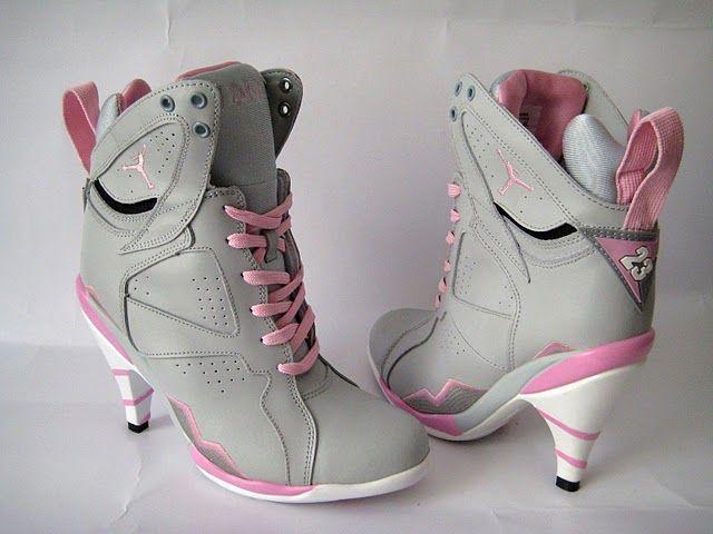 Womens Air Jordan Retro 7 High Heels Grey Pink shoes