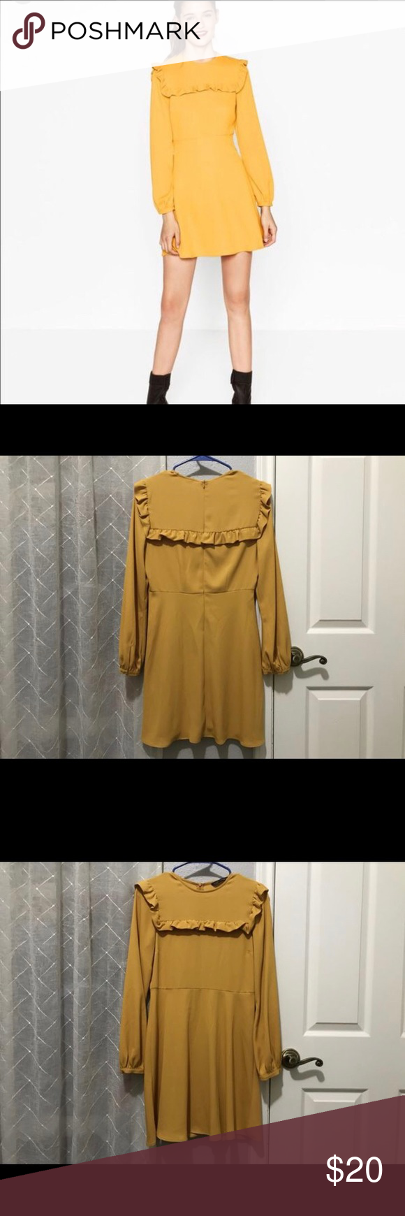 Yellow zara long sleeve shift dress zara dresses dress brands and