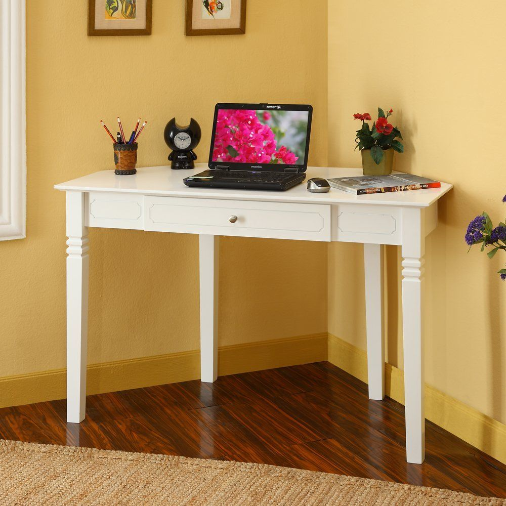 desks for small spaces  White Corner Desk with One Drawer for Small ...