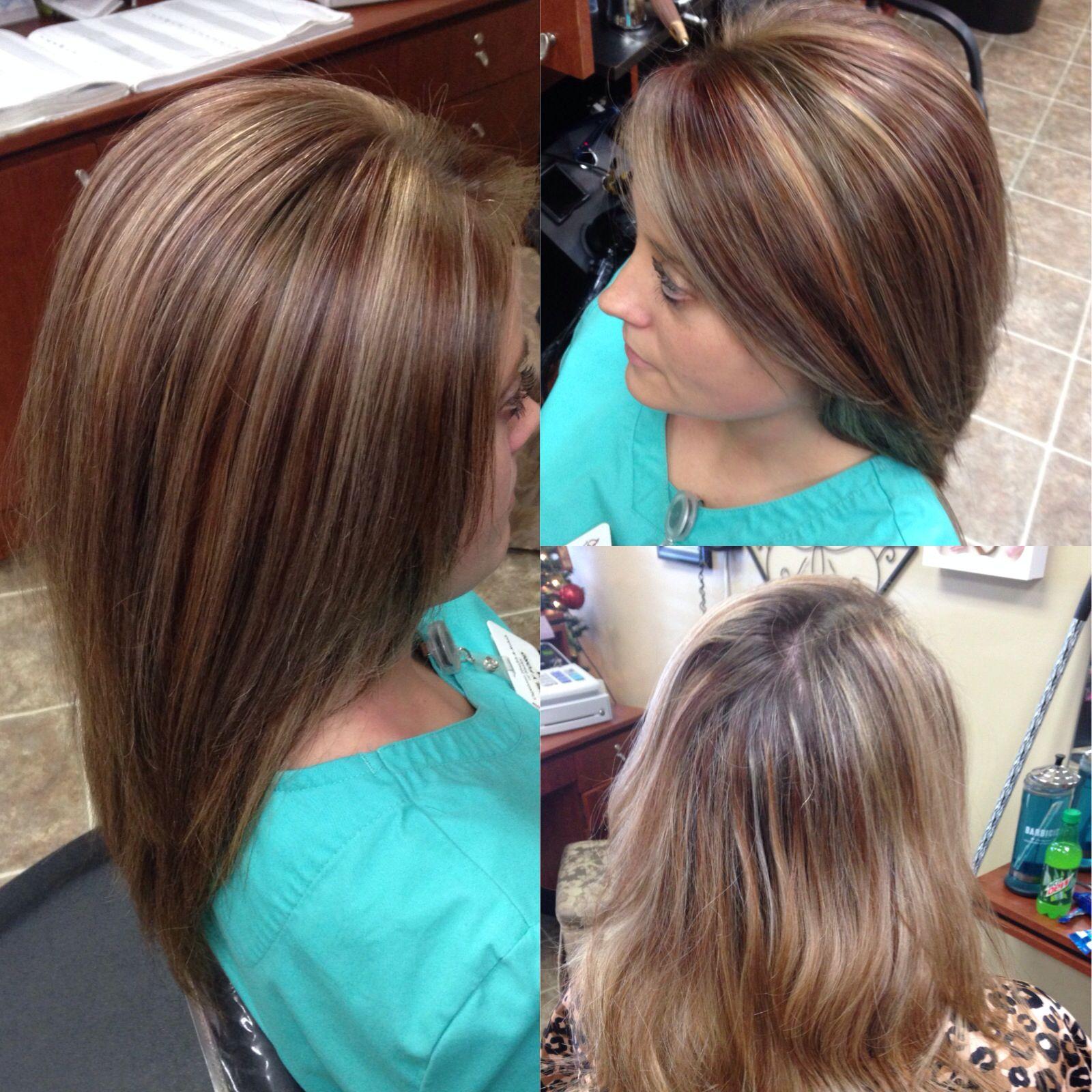 Blonde Highlights Red Brown Lowlights Hair Hair