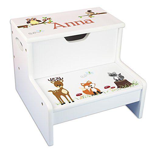 Peachy Personalized Woodland Critter Storage Step Stool Veretys 4 Ibusinesslaw Wood Chair Design Ideas Ibusinesslaworg