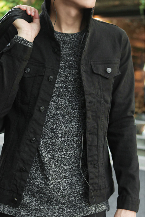 Black Denim Jacket With Grey Sweater Men Fashion Casual Outfits Mens Clothing Styles Mens Fashion Casual