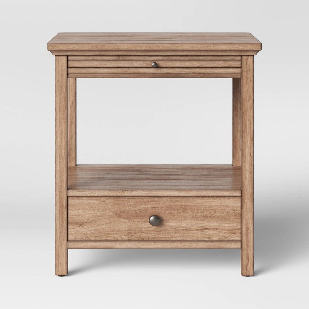 Shelburne Wood Nightstand With Drawer Slide Out Shelf Brown