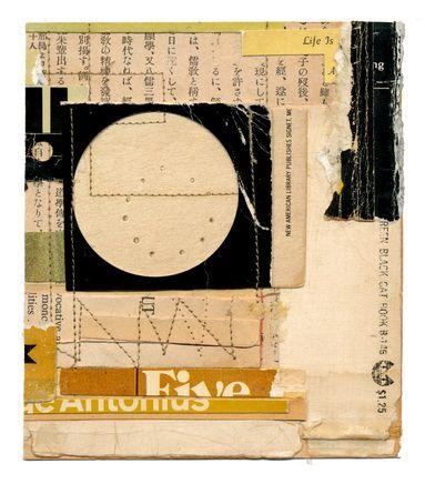 "Life Is A  4.5"" x 5.25""  book parts, stitch, glue, on paper  Melinda Tidwell"