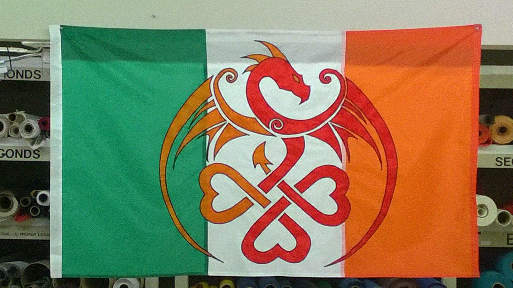 """The """"Irish Dragon"""" custom sewn flag! Custom sewing"""